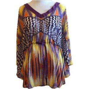 Miss Me MM Couture Kimono Tunic Top Boho Sheer S
